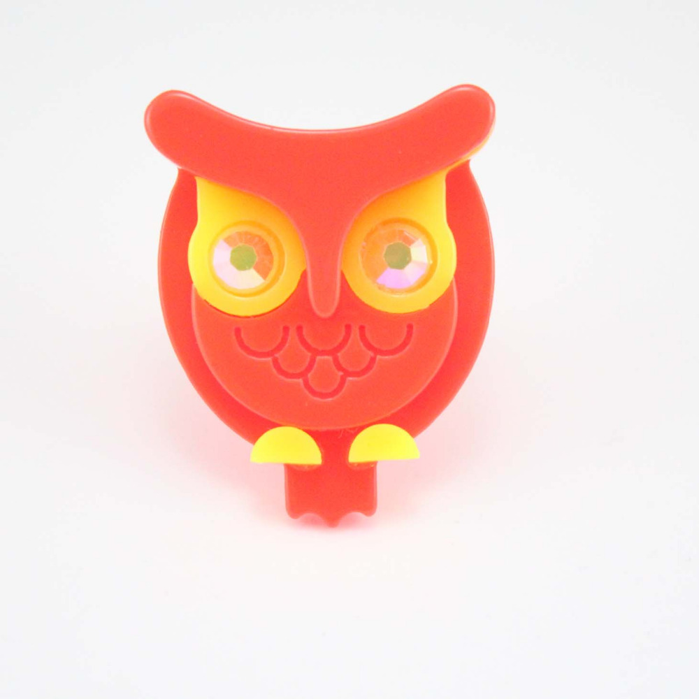 mix colors 2016 trendy fashion adjustable cheap plastic neon owl ring wholesale Free shipping(China (Mainland))