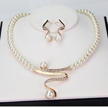Hot Imitation Pearl Jewelry Sets Women Bridal Wedding Party Prom Pearl Rhinestone Necklace Earrings Jewelry Set(China (Mainland))