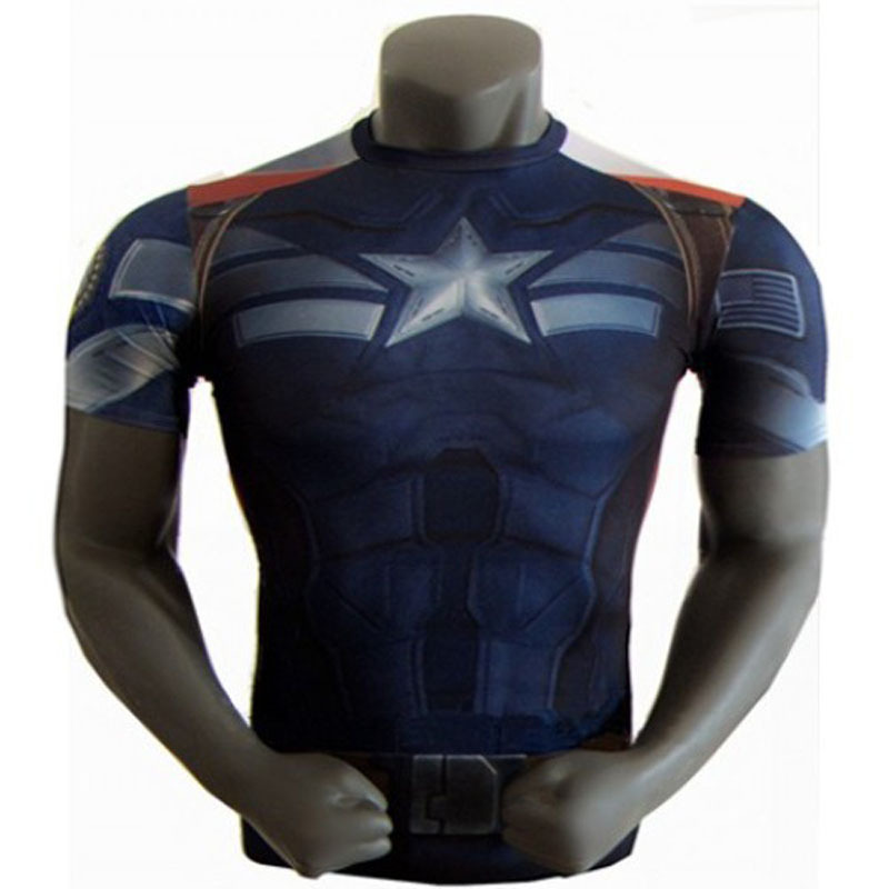 NEW 2015 Marvel Captain America 2 Super Hero lycra compression tights sport T shirt Men fitness clothing short sleeves S-XXXXXLОдежда и ак�е��уары<br><br><br>Aliexpress