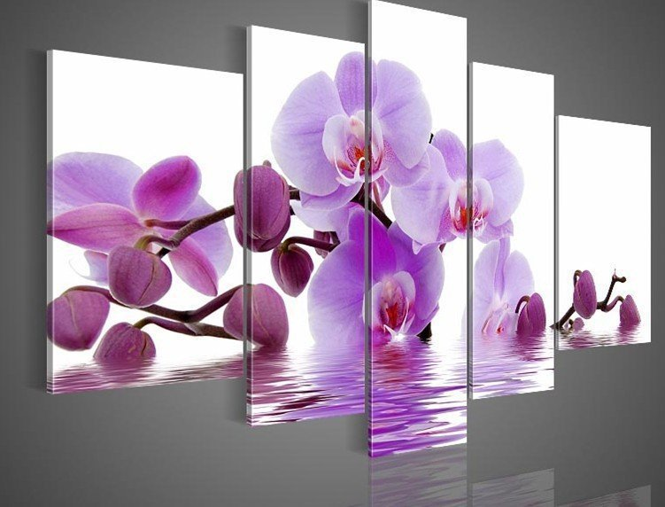 Flowers Purple Hand-painted Oil Wall Art Side home decoration abstract Landscape oil painting canvas 5PCS/Set - Best-Feeling store