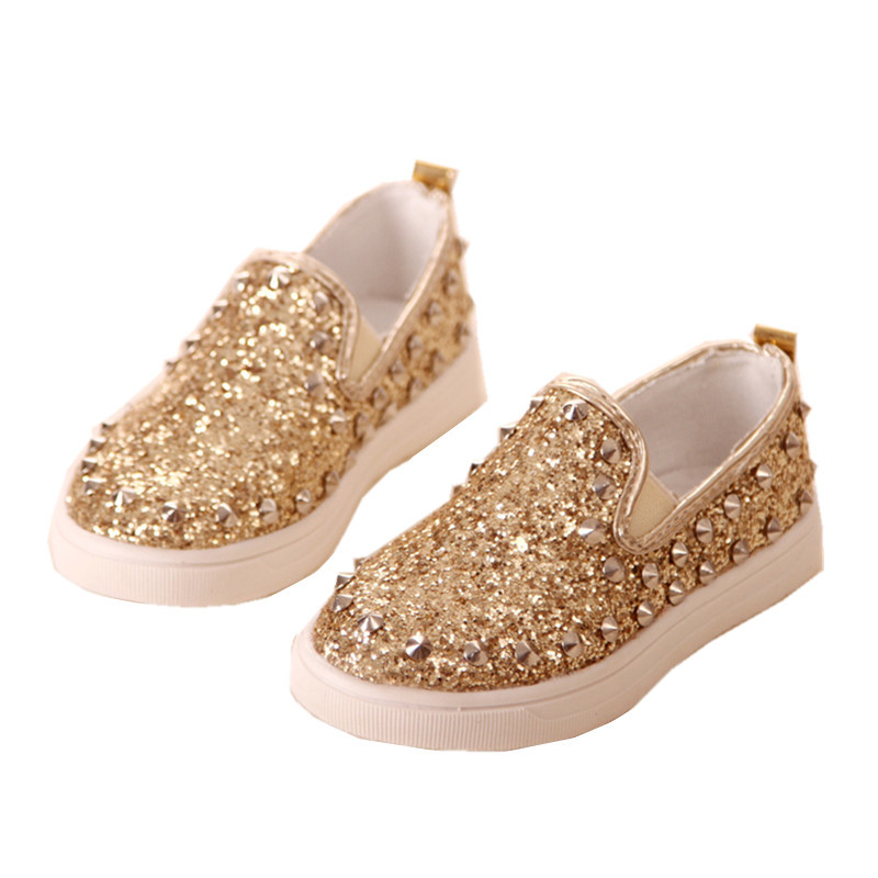 Size 27-31 Kids Shoes Gold/Pink/Silver Sequined Slip-on Rubber Sole Flat Platform Girls Boys Rivet Shoes(China (Mainland))