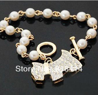 Free Shipping(10pc/lot) Cute Dog Dangling Pendant Imitation Pearl Chain Bracelet From China Yiwu(China (Mainland))