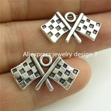 Free Shipping 14624 40PC Alloy Antique Silver Vintage Flag Banner Chequered Flag Pendant Charm