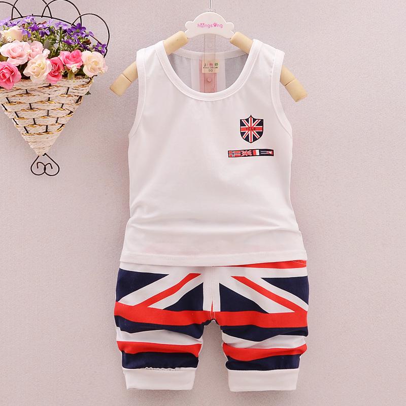 Children's clothing summer 0 - 1 - 2-3 years old male child sleeveless vest child set shorts twinset baby boys girls clothes(China (Mainland))