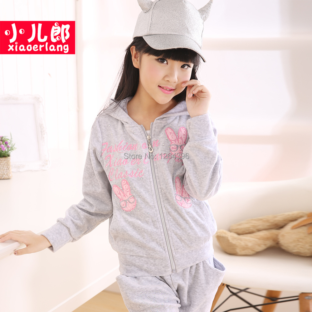 Free shipping girls 2014 new fashion dress,children velvet track suit,design character,soft wear,hot sale.whole and retail.(China (Mainland))