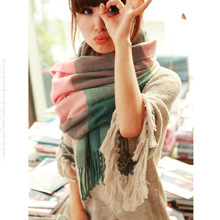 2015 new winter scarf high quality knitted scarf blanket Uneven hot tartan plaid Scarf