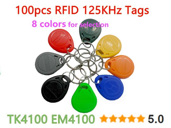 100pcs 125Khz RFID Proximity Keyfobs Ring Access Control Card Rfid Tag Black Red Green Gray Yellow Blue Orange Blackish Green(China (Mainland))