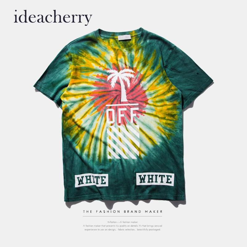 Ideacherry Geometric Stripe Letters Printed T Shirt Men Tie Dye Streetwear Fitness T Shirts Crossfit Hip Hop Brand Clothing(China (Mainland))