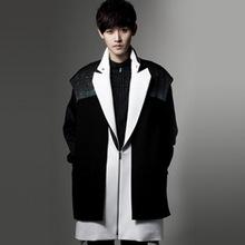 Winter Harajuku Brand Gothic Trench Coat 2016 New Fashion Wool Blends Men Pea Jacket Cool 2 Pcs Vest With Zipper Mens Pea Coat(China (Mainland))