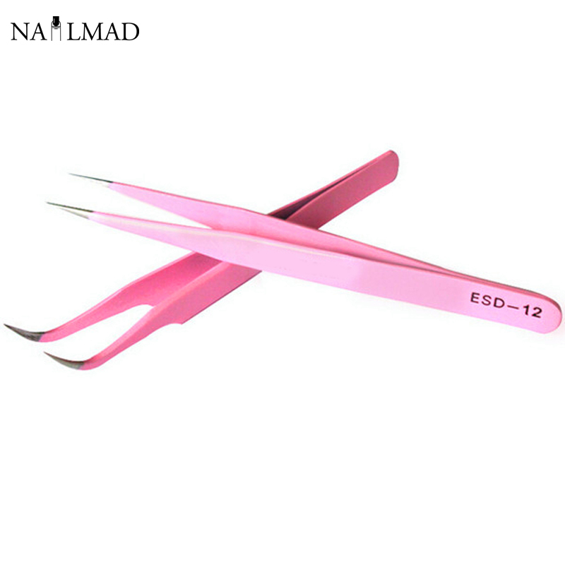 2pcs Straight + Curved Tweezers Nail Art False Fake Eyelashes Extension Tweezers Nippers Pointed Clip Nail Art Tools(China (Mainland))