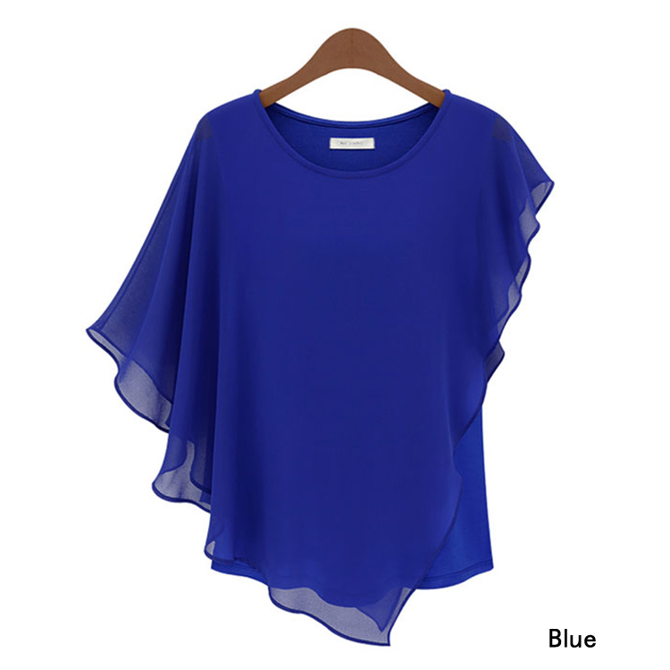 2015 New fashion Plus size Ladies Summer Chiffon Blouses shirts blusas Batwing sleeve ruffles women asymmetric casual shirts(China (Mainland))