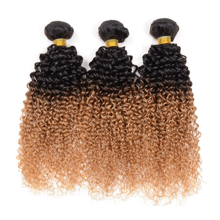 Free Shipping 3pcs Lot Ombre Brazilian Hair Extensions Brazilian Virgin Hair Kinky Curly Remy Human Hair Weave Bundles