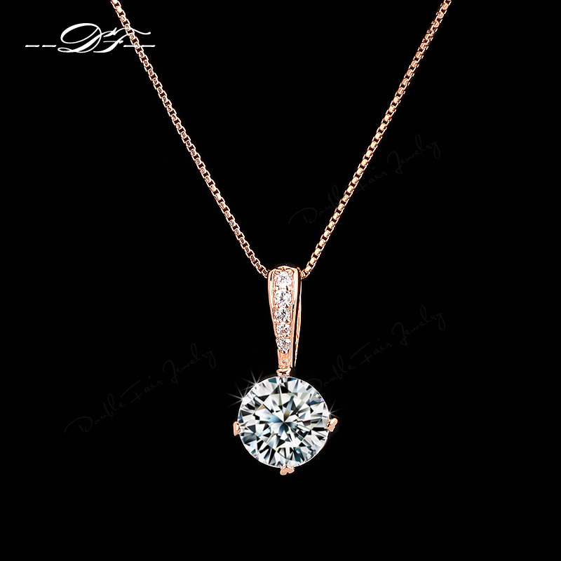 Anti Allergy CZ Diamond Chain Necklaces Pendants For Women 18K Rose Gold Plated Fashion Cubic