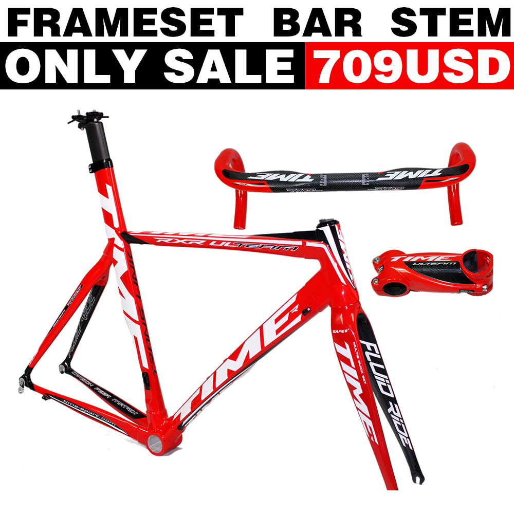 Hot Selling!T1000 carbon road bike Time RXRS Ulteam carbon road frame time bicycle frame bb30 frame TIME handlebar stem(China (Mainland))