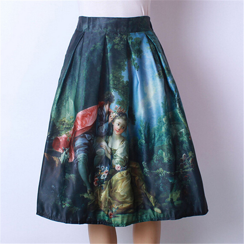 Spring Princess Skirts Royal Female Retro Elegant Women Clothes Oil Painting For Female Print Cute High Waist Fitted Skirt D035(China (Mainland))