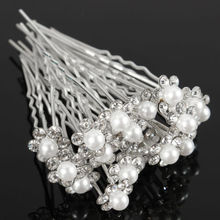 20Pc/Lot Women Ladies Blingbling Beautiful Wedding Bridal Crystal Rhinestone Pearl Flower Hair Pin Clips Hair Sticks Accessories(China (Mainland))