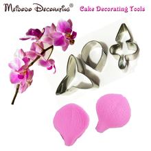 Schmetterling orchidee blütenblatt silikon veiner& ausstecher blume cutter kuchen dekorieren formen Fondant sugarcraft edelstahl-messer(China (Mainland))
