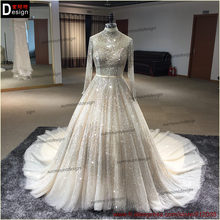 2016 surmount direct selling Ball Gown Long sleeves high-neck hand sewing Beaded dress Beaded gown Beading wedding dresses(China (Mainland))