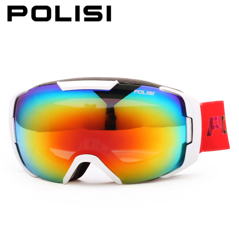 POLISI Professional Skiing Snow Eyewear Double Layer Large Spherical Anti-Fog Lens Glasses Winter UV400 Snowboard Skate Goggles(China (Mainland))