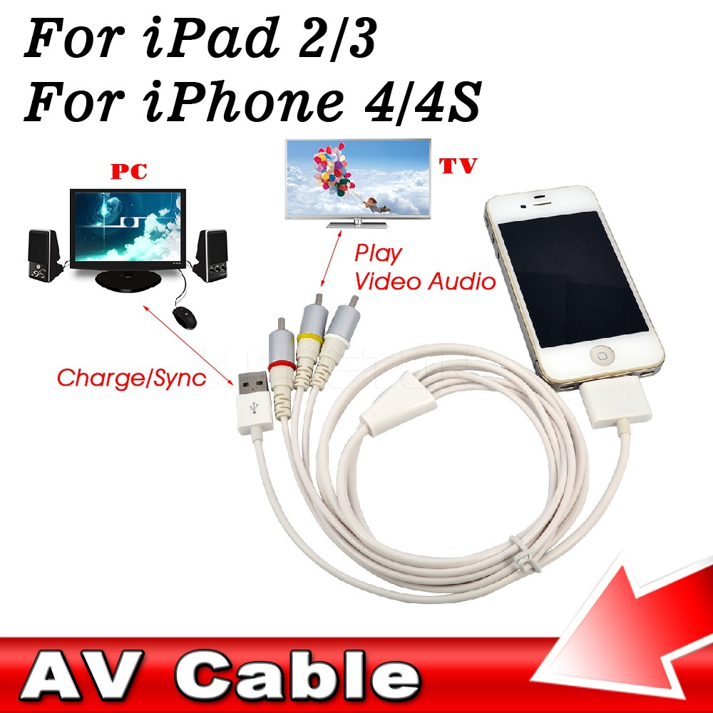 Dock Connector TV RCA Video Composite AV Cable + USB 2.0 for Apple for iPad 1 2 3 for iPhone 4 4S 3GS for iPod Touch for Nano(China (Mainland))
