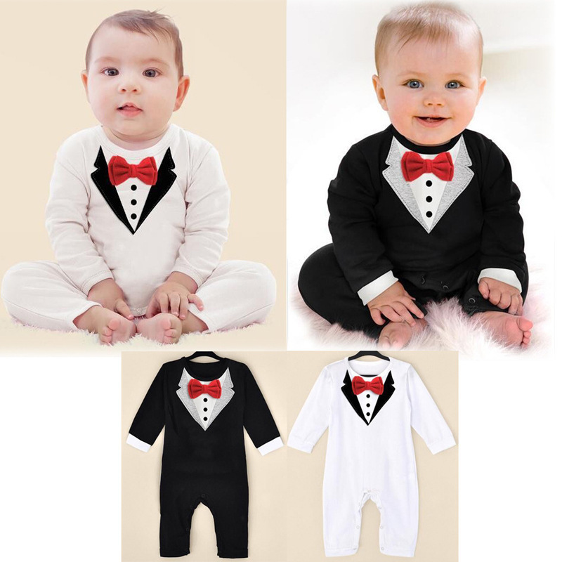 Retail Cute infant gentleman cotton overalls clothes fashion baby boys long sleeve rompers kids Red bow tie clothing romper(China (Mainland))