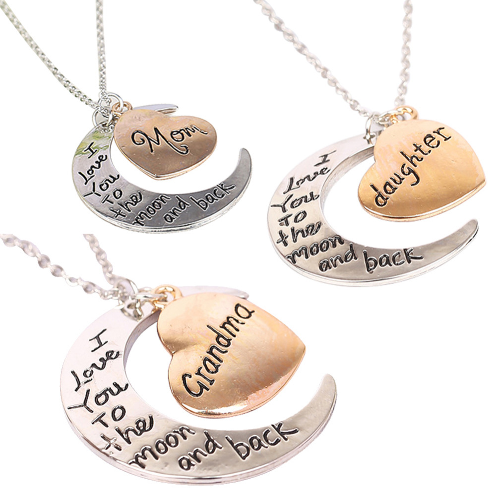 I Love You To The Moon and Back Necklace Fashion Necklaces Pendants Woman Jewelry Gift Vintage Chain Necklace jewelry(China (Mainland))