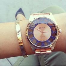 Mujeres de moda de relojes de ginebra número de ver a través de reloj del movimiento de japón reloj de cuarzo damas