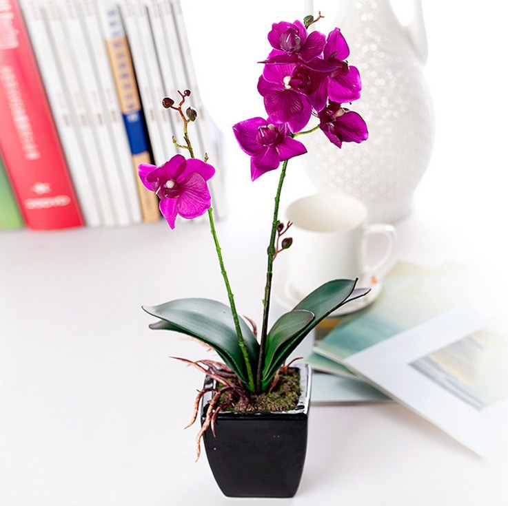 High Quality Mini Flowers Bonsai Ceramics Vase Silk Butterfly Orchid Artificial Flower Set Home Decoration Festival Gift(China (Mainland))