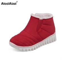 Buy Russia Woman Flat Ankle Boots Women Brand New Soft Leisure Footwear Shoes Thickened Fur Warm Winter Botas Mujer Size 29-46 for $22.68 in AliExpress store