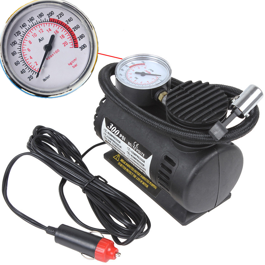 Portable 12V 90W 250PSI Electric Car Tire Tyre Inflator Pump Auto Car Pump Air Compressor with 3 Pneumatic Nozzle