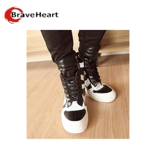 Autumn Men High Tops Fashion PU Leather High-top Shoes Side Zipper Men Shoes British Style Casual  Black And White(China (Mainland))