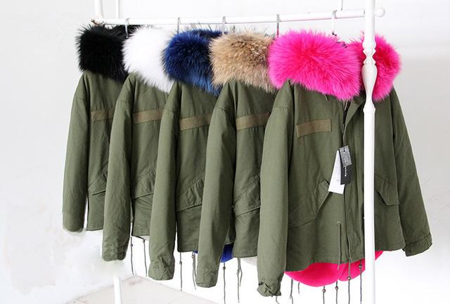 2015 парки для женщин зима армия зеленый ватные пальто большой природный натуральный ...