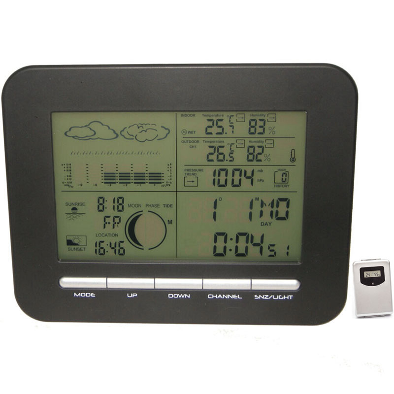 Weather Station Wireless Meter,Digital Weather Forecast Dual Alarm Clock+IN / Outdoor Temperature Thermometer Humidity Seosor(China (Mainland))