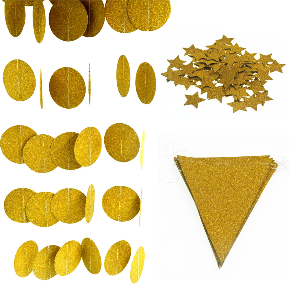 3m Sparkling Gold Paper Garland Bunting + 100pcs Glitter Paper Confetti Star + 15pcsFlag Bannerr Wedding Party Decorations(China (Mainland))