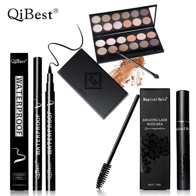 QiBest Makeup Palette Natural Eye Makeup 12 Colors Eye Shadow Makeup Shimmer Matte Eyeshadow Palette Set+Mascara+Eyeliner Pencil(China (Mainland))