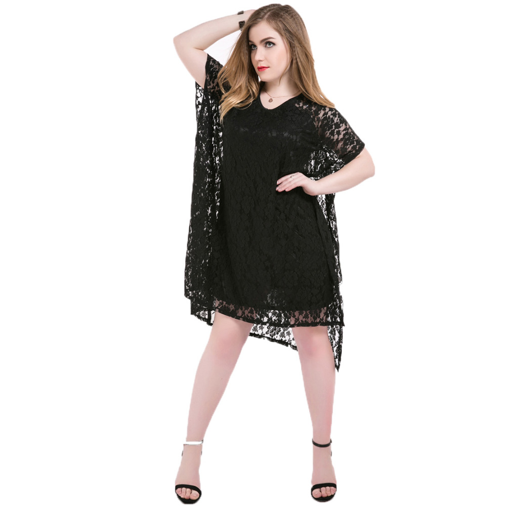 Vestidos Black Hollow out Dresses Women Summer 2016 Backless Lace Dress Plus Size Loose Short Sleeve O neck Sexy Dresses L-7XL(China (Mainland))