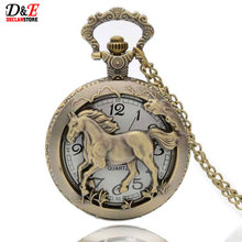 Vintage Horse hollow bronze quartz pocket watch pendant necklace gift male Womens Wholesale Price Free shipping