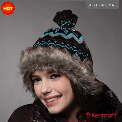 Kenmont Beanies Winter Holiday Sale Plush Beanie Hat Knitted Wool Women's Hats White & Black Cap C-1143 - Price Brand Store store