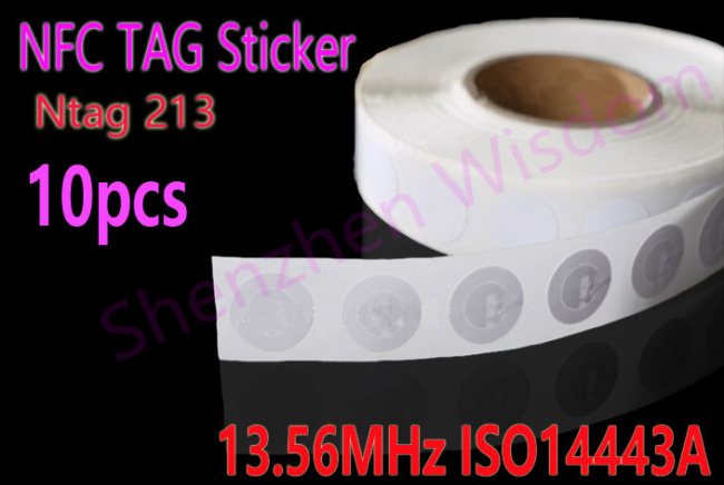 10pcs/Lot NFC TAG Sticker 13.56MHz ISO14443A NTAG 213 NFC Sticker Universal Lable RFID Tag for all NFC enabled phones(China (Mainland))