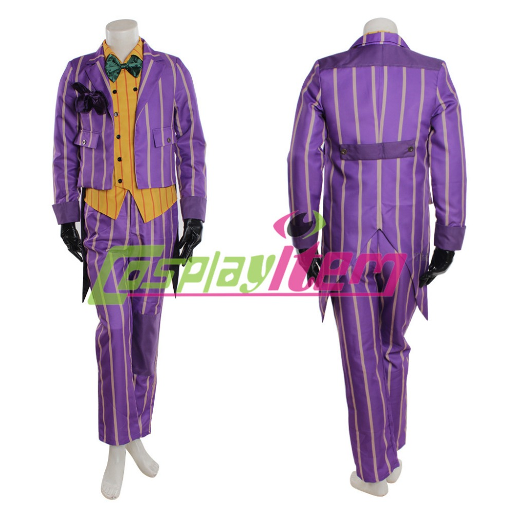 (with gloves)Hot selling Customized movie Batman cosplay costume Arkham Asylum Joker Cosplay Costume whole Suit