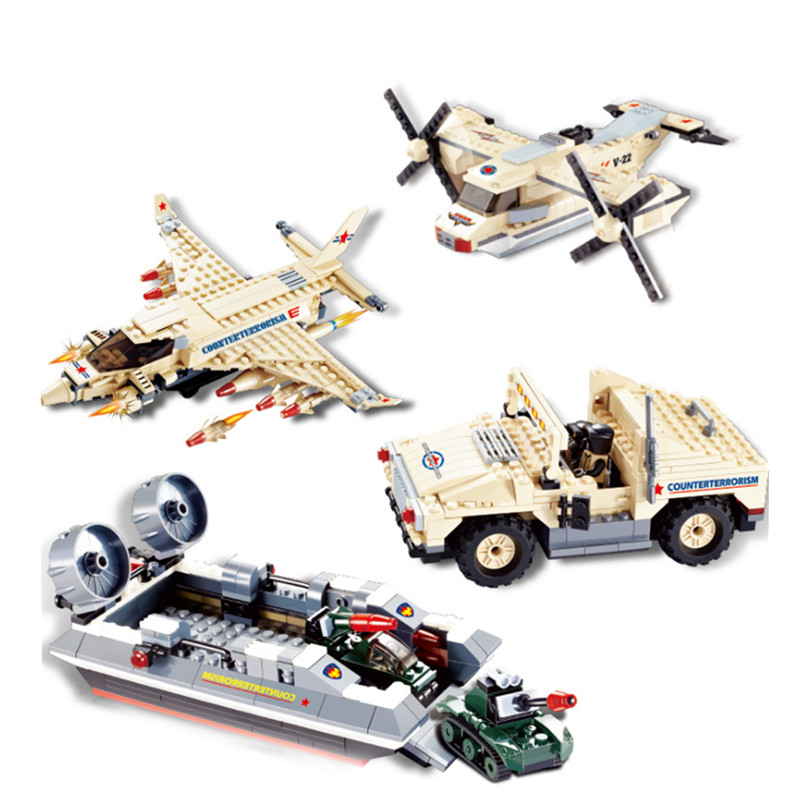 Counter Terrorism Unit Aircraft Sea Horse Hovercraft Military Humvee Type V22 Osprey Tiltrotor Building Blocks Educational Brick(China (Mainland))