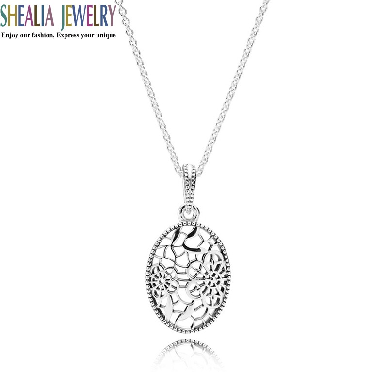 Floral Daisy Lace Pendant Necklace 925 Sterling Silver 2016 Spring Collection Flower Necklace Brand Logo Shealia Fine Jewelry(China (Mainland))