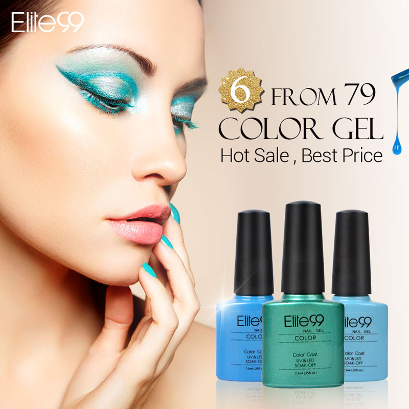 Elite99 7.3ml Soak Off Gel Nail Polish Top Base Coat Needed UV Gel Polish Special Nail Art Manicure Long lasting 6pcs Color(China (Mainland))