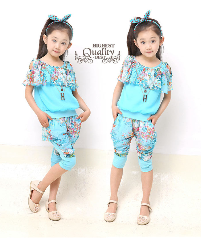 Toddler Girls Summer Clothes Sets For Kids Wear to 2 4 6 8 10 12 Year Baby Wear Girls Elegant Clothing for Teens Vetement Enfant(China (Mainland))