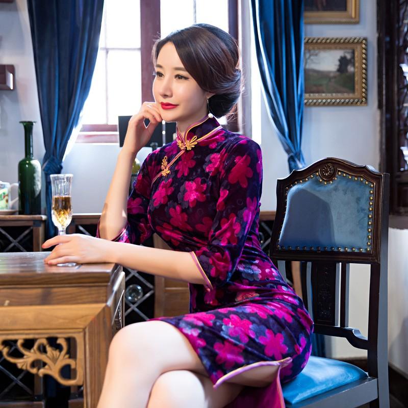 ยุโรปวินเทจสตรีกำมะหยี่สั้นCheongsamจีนแฟชั่นสไตล์การแต่งกายที่สวยงามQipaoขนาดSml XL XXL XXXL F101029 ถูก