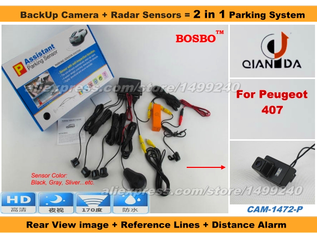 For Peugeot 407 - Car Parking Sensor + Rear View Camera 2 in 1 Assistance System - 4 Radars / Visible Model<br><br>Aliexpress