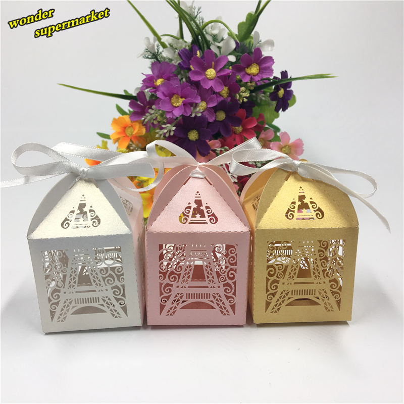 50pcs Laser Cut Eiffel Tower Wedding Box Candy Box Chocolate Packaging Box Party Decoration Wedding Supplies Wedding Decor(China (Mainland))