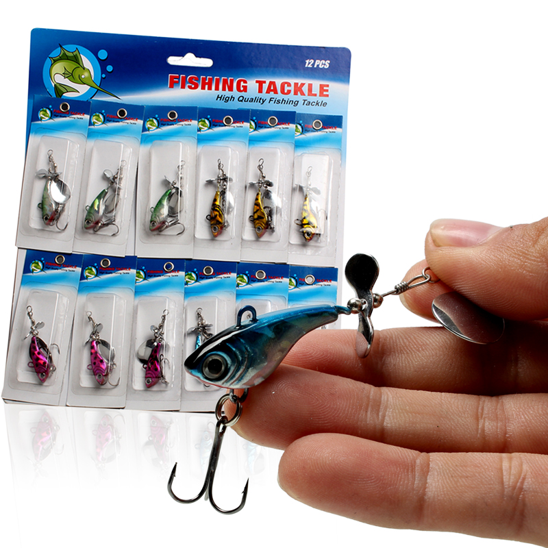 Sougayilang 3 Style Metal Minow Fish Spoon Hard Fishing Lure Bait 12Pcs In 1 Card Carp Bass Trout Saltwater Fishing Lures(China (Mainland))