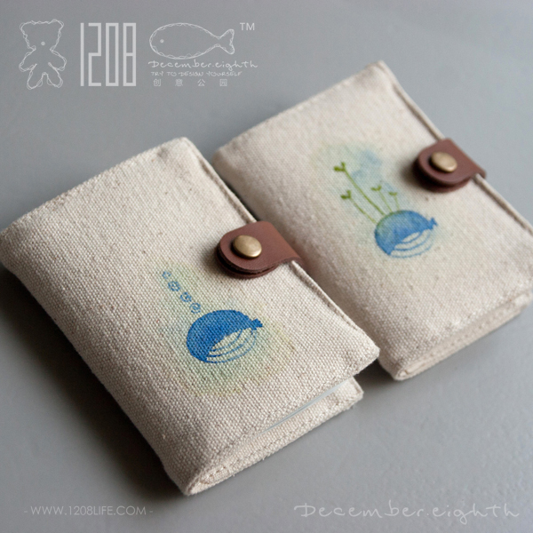 wallet! life primaries canvas card holder card case water color 20 card place small whales 11x8cm