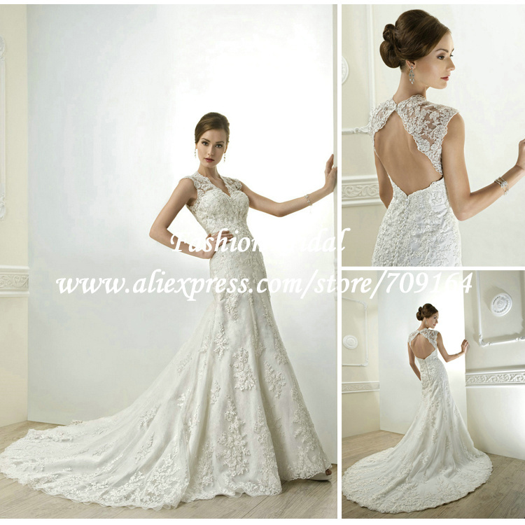 2014 sexy lace wedding dress keyhole back cap sleeve a for Lace cap sleeve keyhole back wedding dress